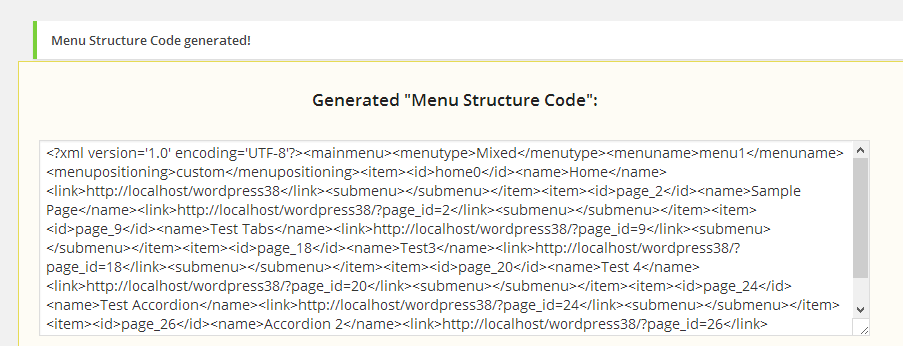 AllWebMenus WordPress menu generated code