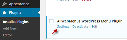 AllWebMenus WordPress Menu Plugin settings