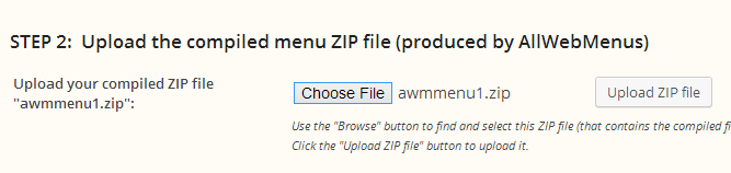 AllWebMenus WordPress upload menu zip file