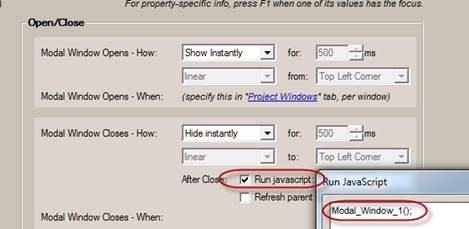 open close modal window settings