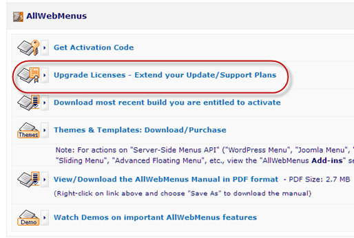 update AllWebMenus license