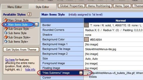 menu image settings