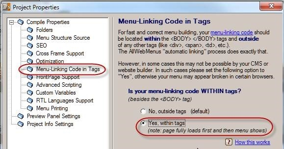 menu linking code in tags