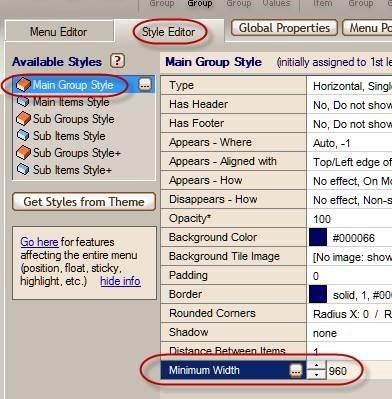 set menu minimum width
