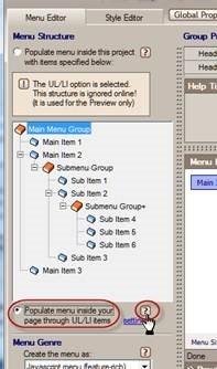 populate menu inside the page through ul li items