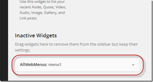 WordPress AllWebMenus inactive widget