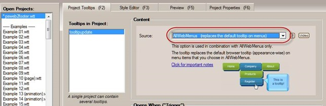 set tooltip as AllWebMenus tooltip