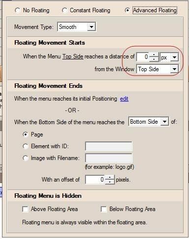 menu advanced floating properties