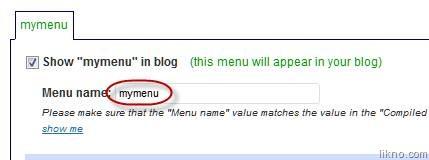 wordpress menu name