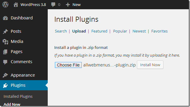 choose wordpress plugin to install