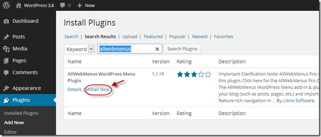Install AllWebMenus WordPress plugin