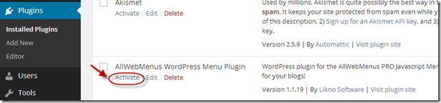 Activate plugin in WordPress Admin Panel
