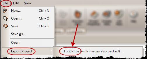 export menu project as zip
