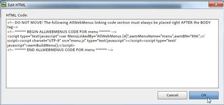 paste linking code to Adobe Muse