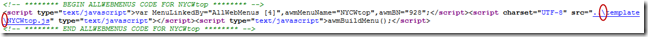 menu linking code