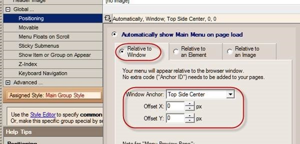 menu position relative to window