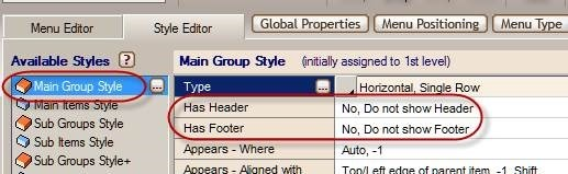 footer header menu settings