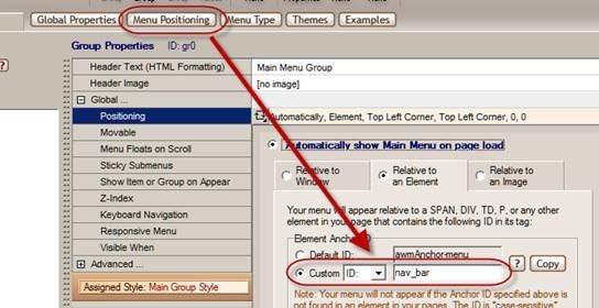 menu positioning settings