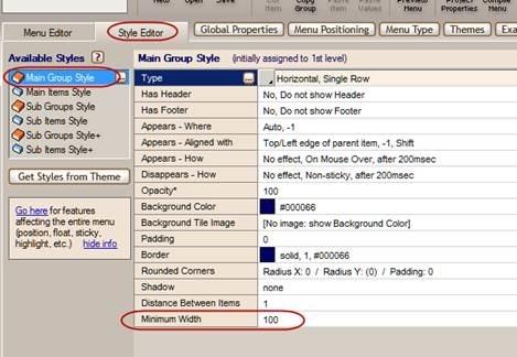 main menu minimum width