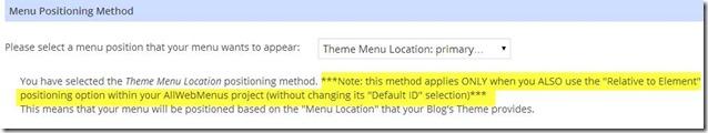 WordPress menu positioning method