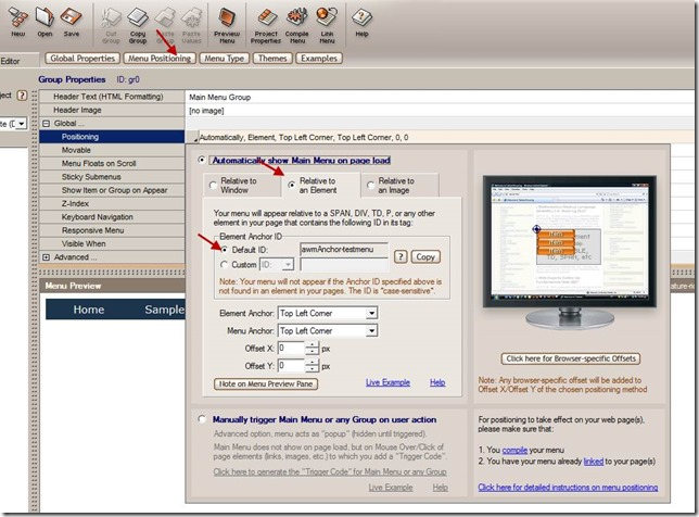 menu positioning in AllWebMenus Pro