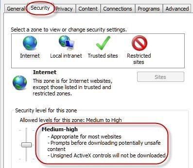 browser security settings