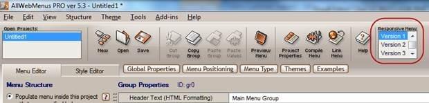responsive menu versions