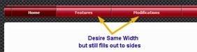 samw width menu items