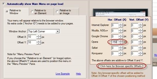 opera browser specific offset