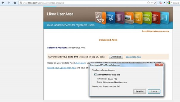 user area download dialog box