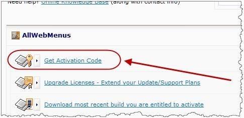menu activation code