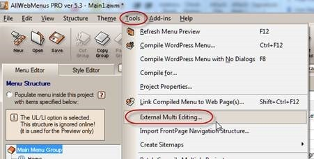 menu external multi editing option