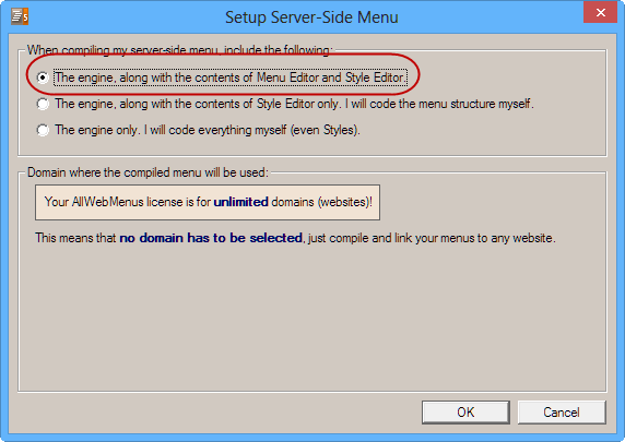 Responsive Server Side Menu