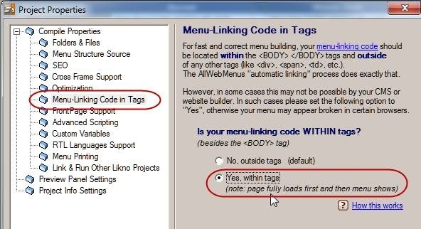 linking code within tags