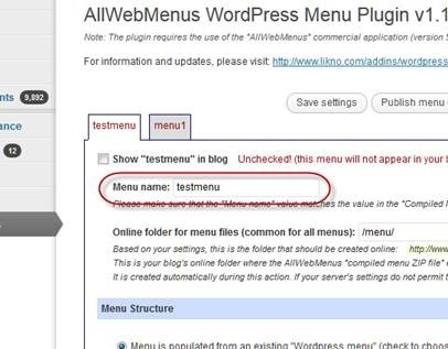 wordpress menu name