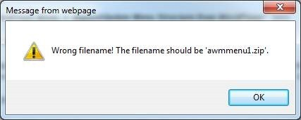 wrong filename error message