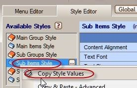 copy menu style values