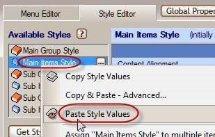 paste menu style values