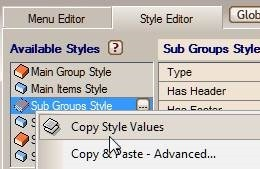 sub group copy style values