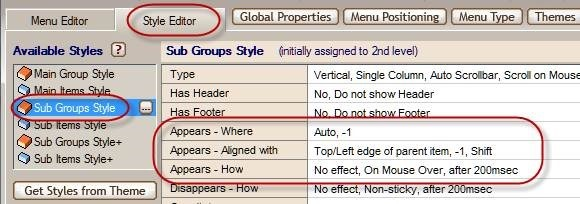 sub group style appears settings