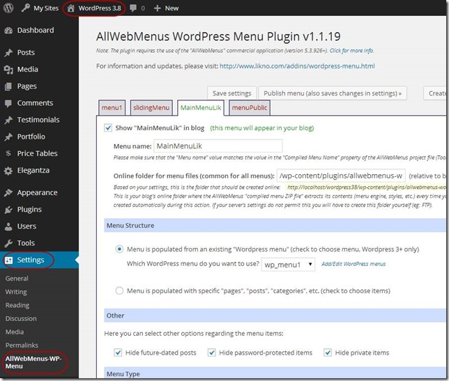 AllWebMenus WP plugin administration panel
