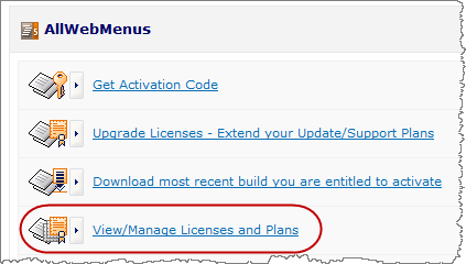 view manage menu licenses