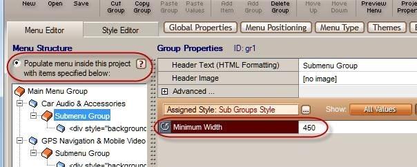 menu minimum width