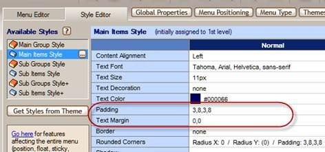 reduce item padding and text margin