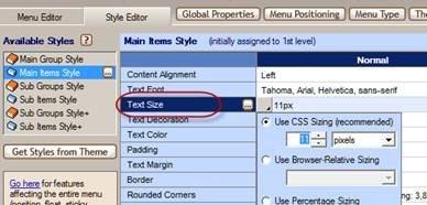 menu text size