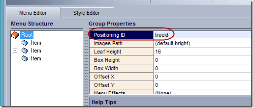 drop down menu tree positioning element