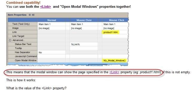 link and modal windows properties