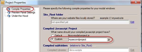 modal window compile name