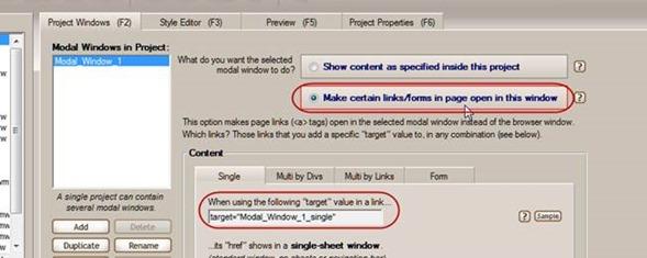 set modal window page links