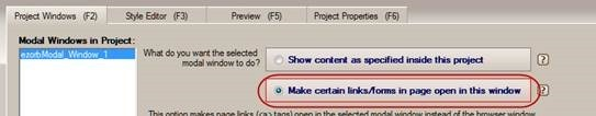 make certain links/forms in page open the modal window
